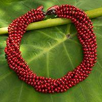 Wood torsade necklace, 'Bangkok Belle' - Red Torsade Necklace Wood Beaded Jewelry