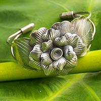 Silver flower bracelet, 'Sumptuous Peony' - Artisan Crafted Fine Silver Flower Cuff Bracelet