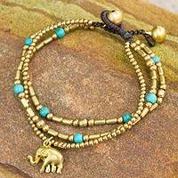 Brass beaded bracelet, 'Thai Elephant Charm'