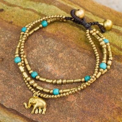 Brass beaded bracelet, 'Thai Elephant Charm' - Brass Bracelet Turquoise-color Gems Beaded Jewelry