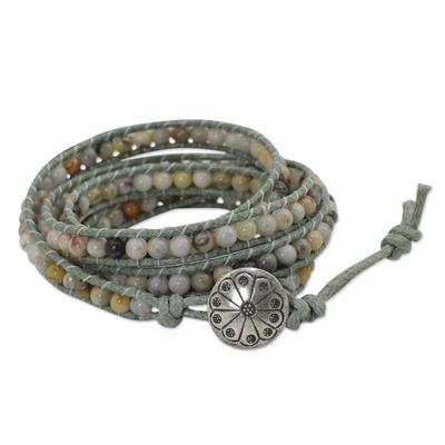Jasper and Agate Cotton Wrap Bracelet