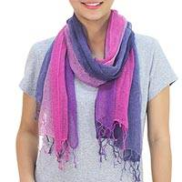 Silk scarves, 'Purple Fantasy' (pair) - Women's Hand Spun Silk Scarves (pair)