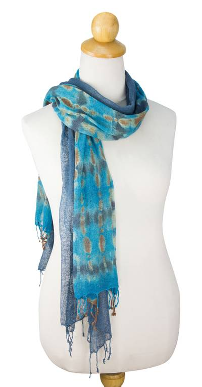 Silk scarves, 'Turquoise Polka Dots' (pair) - Women's Scarves Hand Spun Silk (pair)