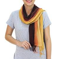 Silk scarves, 'Yellow Fantasy' (pair) - Women's Hand Spun Silk Scarve (pair)