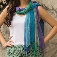 Silk scarves, 'Blue Fantasy' (pair) - Fair Trade Hand Spun Silk Scarves (Pair)