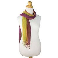 Silk scarves, 'Wine Fantasy' (pair) - Women's Scarves Hand Spun Silk (pair)