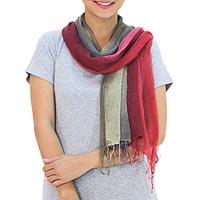 Silk scarves, 'Pink Fantasy' (pair) - Handspun Silk Scarves from Thailand (Pair)