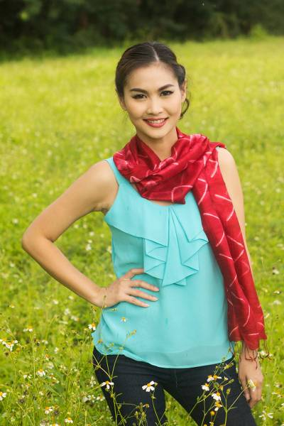 Silk scarf, 'Red Mountains' - Red Silk Tie Dye Scarf from Thailand