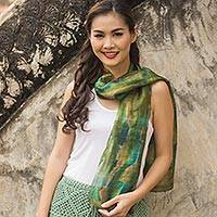 Silk scarf, 'Green Thai River' - Tie Dye Green and Blue Silk Scarf from Thailand