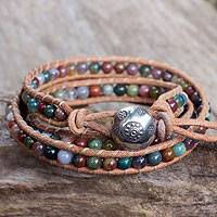 Jasper wrap bracelet, 'Inner Harmony' - Multi-colored Jasper and Leather Wrap Bracelet