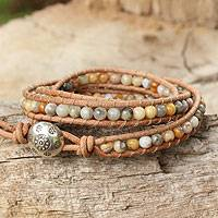 Jasper wrap bracelet, 'Inner Balance' - Jasper and Leather Wrap Bracelet Thai Artisan Jewelry