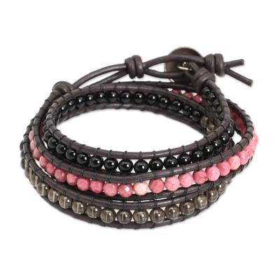 Multi-gemstone wrap bracelet, 'Elegant Enigma' - Onyx Rhodonite Smoky Quartz and Leather Bracelet