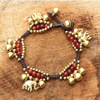 Carnelian charm bracelet, 'Fortune's Melody' - Elephant and Bell Charm Bracelet in Carnelian and Brass