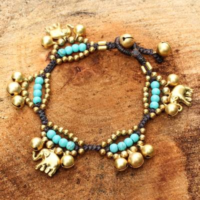 Brass charm bracelet, 'Fortune's Blue Melody' - Elephant and Bell Charm Bracelet in Blue Gems and Brass