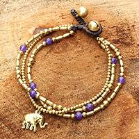 Brass beaded bracelet, 'Purple Elephant Charm'