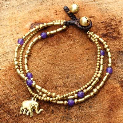 Brass beaded bracelet, 'Purple Elephant Charm' - Brass Bracelet Purple-color Gems Beaded Jewelry