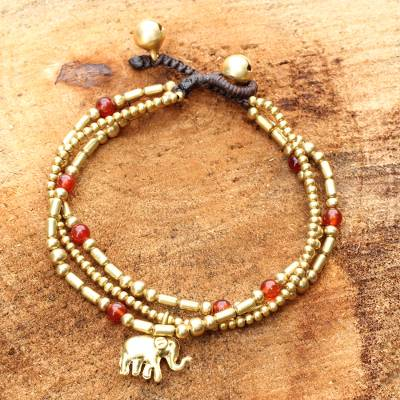 Carnelian beaded bracelet, 'Thai Elephant Charm' - Brass Bracelet Carnelian Gems Beaded Jewelry