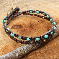 Brass braided bracelet, 'Aqua Boho Chic'