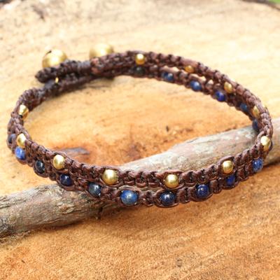 Lapis lazuli braided bracelet, 'Blue Boho Chic' - Brass Bracelet Lapis Lazuli Braided Jewelry