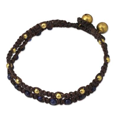 Brass Bracelet Lapis Lazuli Braided Jewelry