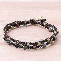 Brass braided bracelet, 'Green Boho Chic' - Brass Bracelet Green Brown Gems Braided Jewelry