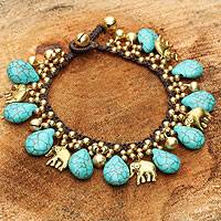 Brass charm bracelet, 'Siam Legacy' - Brass Beaded Turquoise coloured Elephant Bracelet