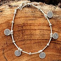 Silver charm bracelet, 'Hypnotic Hill Tribe' (Thailand)