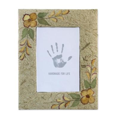 Saa paper photo frame, 'Earth Memory' (5x7) - Handmade Brown Saa Paper Photo Frame 4x6