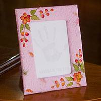 Saa paper photo frame, 'Orchid Memory' (4x6) - Handmade Lilac Saa Paper Photo Frame 4x6