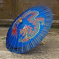 Saa paper parasol, 'Blue Dragon' - Handcrafted Blue Saa Paper Parasol with Dragon Art