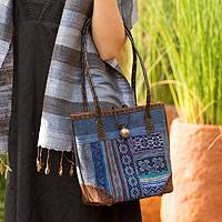 Leather accent cotton shoulder bag Blue Tribal Patchwork Thailand