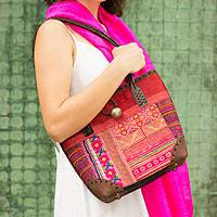 Leather accent cotton shoulder bag Red Tribal Patchwork Thailand