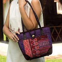 Leather accent cotton shoulder bag, 'Purple Tribal Patchwork'