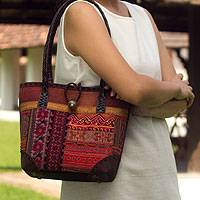 Leather accent cotton shoulder bag, 'Orange Tribal Patchwork'