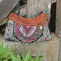 Leather accent shoulder bag Mandarin Geometry Thailand