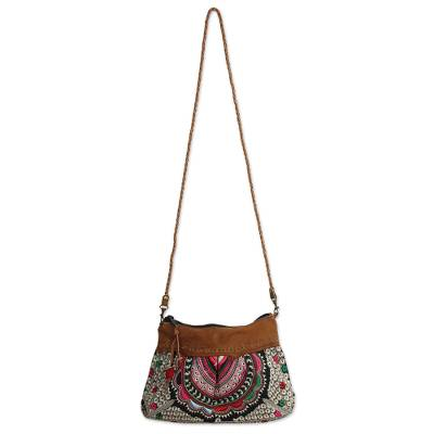 Leather accent shoulder bag, 'Mandarin Geometry' - Mandarin Style Embroidered Handbag with Leather Trim