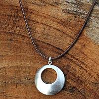 Sterling silver pendant necklace, 'Satin Moon' - Hand Made Brushed Silver Pendant Necklace