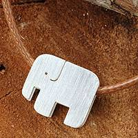 Sterling silver pendant necklace, Modern Elephant
