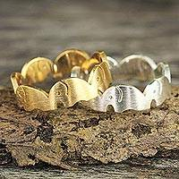 Gold vermeil and silver stacking rings, 'Romantic Elephants' (pair) - Gold Plated and Sterling Silver Band Rings (Pair)