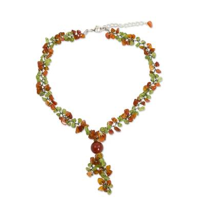 Peridot and Carnelian Beaded Necklace from Thailand