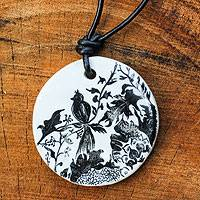 Leather and ceramic pendant necklace, 'Nature's Kingdom' - Leather and Ceramic Hand Painted Necklace