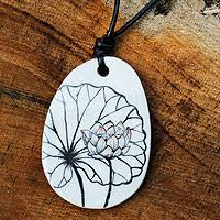 Leather and ceramic pendant necklace, 'White Lotus' - Leather and Ceramic Hand Painted Necklace