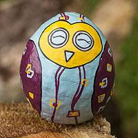 Papier mache paperweight tumbler, 'Lucky Happy Owl' - Handcrafted Papier Mache Paperweight Tumbler