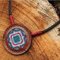 Cotton and leather pendant necklace, 'Hill Tribe Diamond Star' - Cross Stitch Cotton and Leather Handcrafted Necklace