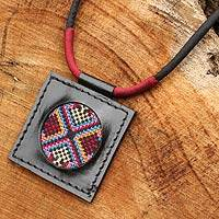 Cotton and leather pendant necklace, 'Karen Kaleidoscope' - Cross Stitch Cotton and Leather Thai Handcrafted Necklace