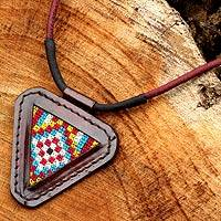 Cotton and leather pendant necklace, 'Vibrant Hill Tribe' - Artisan Crafted Cotton and Leather Necklace