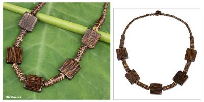 Coconut shell and wood beaded necklace, 'Love for Nature' - Thai Handmade Coconut Shell Long Beaded Necklace
