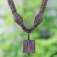 Coconut shell and wood beaded necklace, 'Naturally Charming' - Thai Handmade Coconut Shell Pendant Necklace