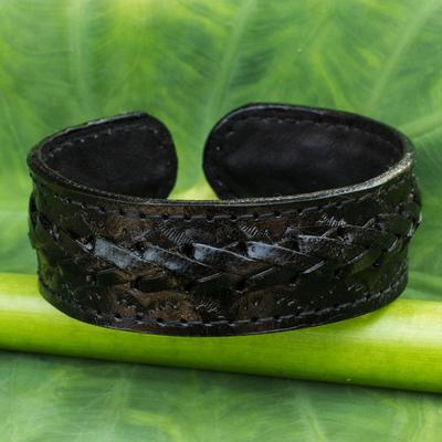 Men's leather cuff bracelet, 'Midnight Warrior' - Fair Trade Black Leather Cuff Bracelet for Men