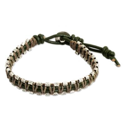Leather and Silver Wristband Hill Tribe Charm